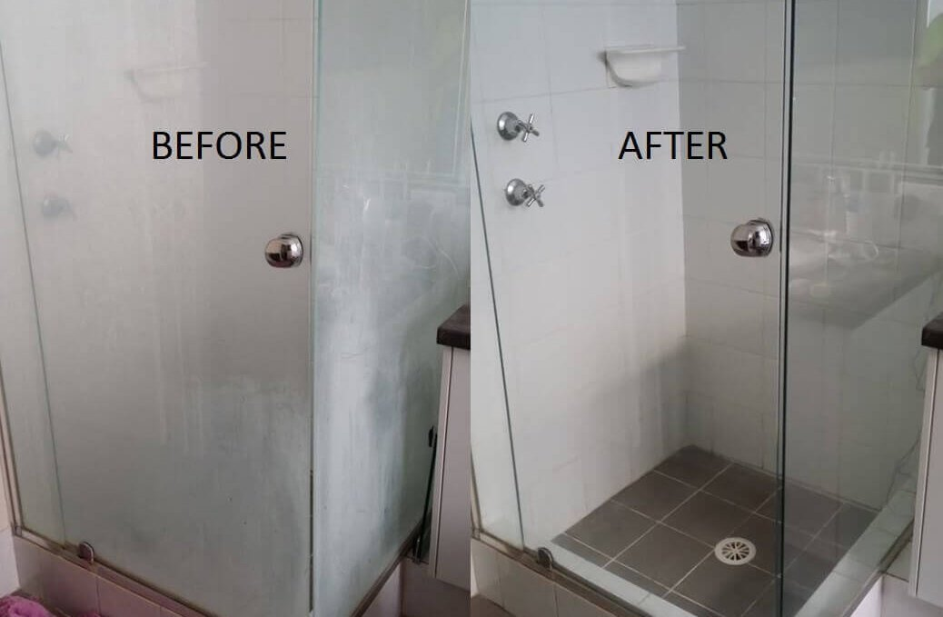 Hard water stins on glass shower doors before and after cleaning by mydust cleaning services nyc